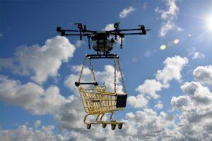 drone con carrello spesa