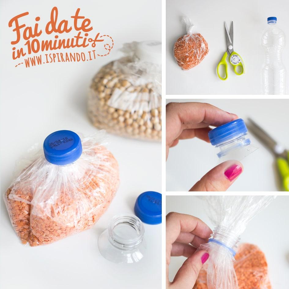 foto tutorial come chiudere sacchetto con un tappo di plastica