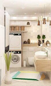 lavatrice a vista con sopra mensole