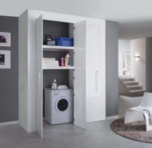 mobile contenitore lavatrice e sgabuzzino posizionato in soggiorno