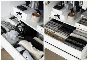 cassetto dei maglioni prima e dopo organizzazione