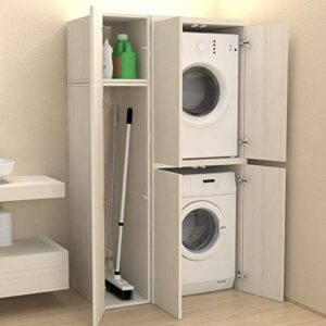 mobile porta lavatrice-asciugatrice e scope per nascondere lavatrice e sgabuzzino
