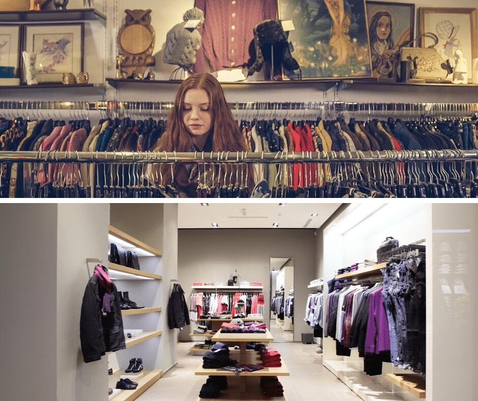 un negozio pieno di vestiti e oggetti fino al soffitto sopra, un negozio ben organizzato sotto